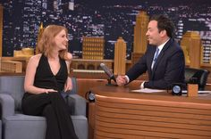 """Jessica Chastain Photos - Jessica Chastain Visits """"The Tonight Show Starring Jimmy Fallon"""" at Rockefeller Center on October 2015 in New York City. - Jessica Chastain Visits 'The Tonight Show Starring Jimmy Fallon' Tonight Show, Hollywood Star, Jessica Chastain, Jimmy Fallon, Cate Blanchett, Youth, Natural Beauty, Theatre, Fill"""