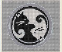 Cross Stitch Pattern Ying Yang Cat Black White PDF Download Balance Unity Feline