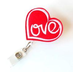 Valentine Heart Felt Name Badge Holder Cute Badge by BadgeBlooms Id Badge Clip, Nurse Badge, Badge Reel, Id Badge Holders, Felt Name, Red Love Heart, Name Badges, Felt Applique, Felt Hearts