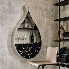 drop | bookcases - Wall bookcase/wine rack in matt white (OP71), black (OP17), graphite (OP69) lacquered steel or in polished stainless steel with rack and shelf in matt white (OP71), black (OP17) or graphite (OP69) varnished steel.