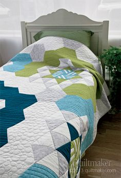 Easy Breezy Hexies, Quiltmaker May/June '13. Design by Sonja Callaghan; artisania.ca; kits: http://www.quiltandsewshop.com/product/easy-breezy-hexies-twin-quilt-kit/New-In-Quiltmaker