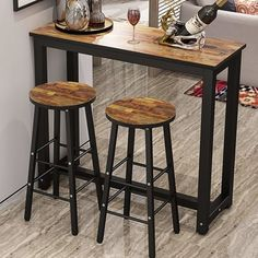Plainfield 3 Piece Pub Table Set by Ebern Designs – Tarzanja Industrial Design Furniture, Metal Furniture, Diy Furniture, Industrial Table, Luxury Furniture, Bar Table Sets, Patio Bar Set, Office Break Room, Counter Height Table