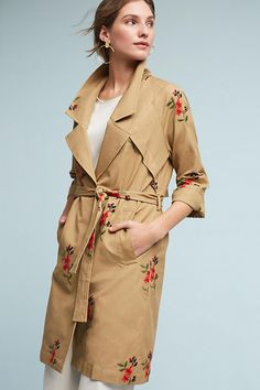 Slide View: 1: Embroidered Floral Trench