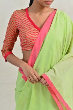 Green Saree, Pink Saree, Green Punch, Saree Jackets, Saree Blouse Designs, Cotton Saree, Color Mixing, Sarees, New Look