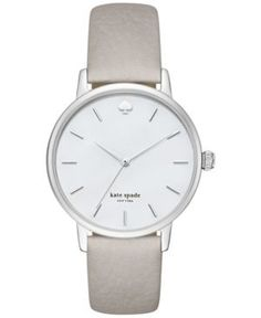 kate spade new york Women's Metro Clocktower Gray Leather Strap Watch 34mm KSW1141 - Silver
