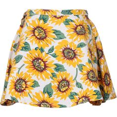 Choies Sunflower Print High Waist Skater Skirt (€18) ❤ liked on Polyvore featuring skirts, bottoms, saias, faldas, multi, flared skirt, skater skirt, sunflower skirt, circle skirt and high rise skirts