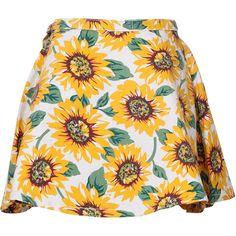 Choies Sunflower Print High Waist Skater Skirt (€18) ❤ liked on Polyvore featuring skirts, bottoms, saias, faldas, multi, flared skirt, skater skirt, sunflower skirt, circle skirt and high rise skirts