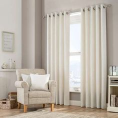 Natural Purity Eyelet Curtain Collection   Dunelm