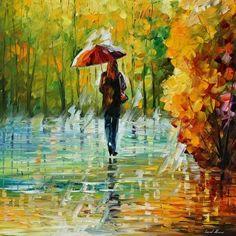 """Beleza da Chuva"" - Pintura a óleo sobre tela de Leonid Afremov"