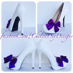 White Wedding Glitter Pump High Heels with Royal Eggplant Purple Satin Pinup Bow