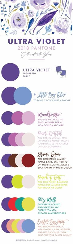 Love the color palettes with ultra violet pantone, pantone color of the year 2018!