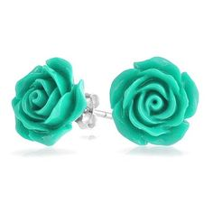 Bling Jewelry 925 Silver Simulated Turquoise Resin Flower Rose Stud... (135 ARS) ❤ liked on Polyvore featuring jewelry, earrings, accessories, blue, rose earrings, silver stud earrings, silver rose earrings, flower stud earrings and blue stud earrings
