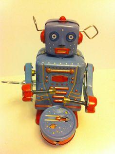 Vintage Retro Tin Toy Robot Metal 1980s by xxeightiesxx on Etsy, $19.99