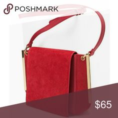 Red suede crossbody bag -Approximately 8 x 10 x 2.75 -Adjustable shoulder strap -Magnetic snap close -Suede/ manmade materials -Goldtone hardware White House Black Market Bags Crossbody Bags