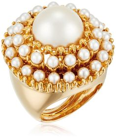 Kenneth Jay Lane Gold and Pearl Cabochons with Pearl Center Round Ring, Size 5-7. Ring adjusts between sizes 5-7. Made in United States. adjustable ring with pearls. Made in USA.