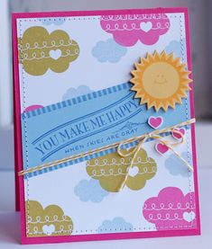 You Make Me Happy Card by Betsy Veldman for Papertrey Ink (June Cars Mom Cards, Cute Cards, Pumpkin Cards, Paper Light, Homemade Cards, Cardmaking, Birthday Cards, Paper Crafts, Inspiration Cards