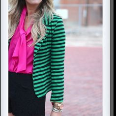 LOVE the pink with the green blazer