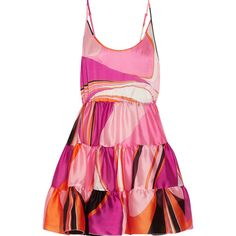 Emilio Pucci Libellula ruffled printed silk-organza mini dress ($575) ❤ liked on Polyvore featuring dresses, pink, mini dress, tiered dresses, pattern dress, pink ruffle dress and ruffled dresses