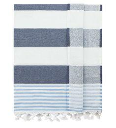 Eshma Mardini Bath & Beach Towel, %100 Cotton Peshtemal, Pool, Spa, Sauna, Hot Yoga Towel (Double Sided) Various Colors - ( Navy - Blue ) - $19.95