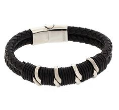 Edforce Stainless Steel and Braided Leather Men's Gothic Design Bracelet with Fancy Lock - 8.25 inch x 0.47 inch