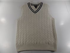 Brooks Brothers XL Mens Cable Knit V Neck Sweater Vest Size XL Beige Striped #BrooksBrothers #Vest