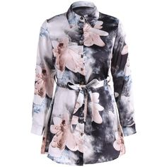 Floral PrintedBelted Shirt Dress (43 BAM) ❤ liked on Polyvore featuring dresses, floral day dress, flower print dress, shirt dress, blue floral print dress and t-shirt dresses