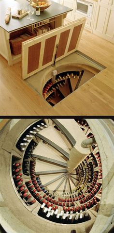 "This is my idea of a grand stair-case/booze cellar! (yeah I know ""Wine Cellar"" but I drink much more than just wine you know!)"