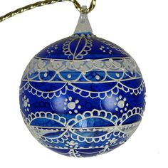 First Snow Hand Painted Christmas Ball Austria by HolidayGiftShops