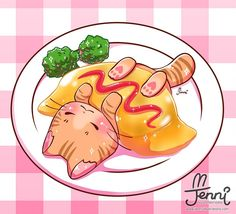 Would you like some omurice?  . . . #omurice #japanesefood #catlover #foodanimals #foodart #jennilustrations