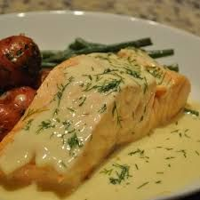 Poached Salmon and Broiled Salmon Recipes - InfoBarrel Baked Salmon Recipes, Fish Recipes, Meat Recipes, Chicken Recipes, Cooking Recipes, Salmon Dishes, Fish Dishes, Molho Hollandaise, I Want Food