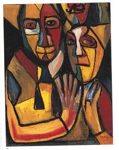 """Expresionismo de Pérez Bellas.""""Payasos"""".Acrílico sobre papel. Conoce más en http://elarcadelarte.blogspot.com.es/2013/04/el-nuevo-expresionismo-de-mercedes.html"""
