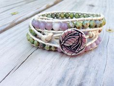 Triple Leather Wrap Pearl Lavender - Earthy Boho Summer