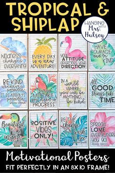 These 14 motivational posters were made to match a tropical, rustic, or shiplap themed style. I think they would also look great with any beach decor! Classroom Decor Themes, New Classroom, Classroom Posters, Classroom Design, Classroom Ideas, Classroom Displays, Classroom Organization, Tropical Furniture, Tropical Interior