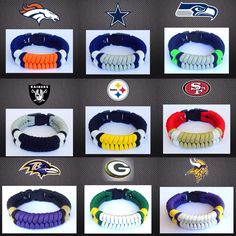 NFL Paracord Bracelets by Castillo Paracord $10 FREE shipping & ships to U.S. only. Please email your preferred team & wrist size to ecko.26@hotmail.com to place your order. Other teams made upon request. Thank you. PayPal only.