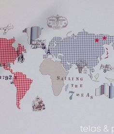 Vinilo de tela mapa mundi un mundo fant stico la vuelta - Papel pintado mapamundi ...