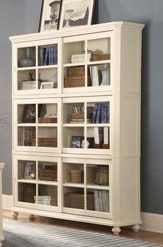 Homelegance Hanna 4 Piece Wood Barrister Bookcase Set in White - Home Office Furniture, Home Office Decor, Dining Room Furniture, Office Ideas, Urban Furniture, Furniture Ideas, Office Sofa, Office Lounge, Furniture Nyc