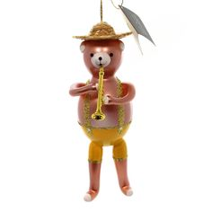 Bear With Trumpet Glass Ornament