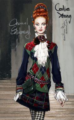 Chanel PF Edinburgh ~ Oxana Polk #fashion_illustration.