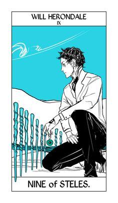 Nine of Steles (Will Herondale) tarot card by Cassandra Jean
