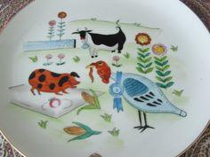 Barnyard Scene ENESCO Imports Japan Handpainted Decorative Plate by lookonmytreasures on Etsy