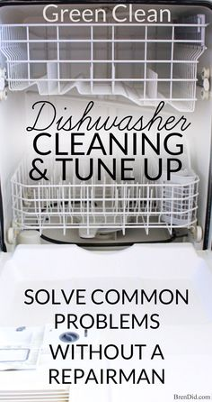 I wouldn't use CLR in the dishwasher, but this is good info. This green dishwasher cleaning and tune-up tutorial will remove build up, solve drainage problems, keep it sparking clean, and make it run like new! Deep Cleaning Tips, Green Cleaning, House Cleaning Tips, Natural Cleaning Products, Cleaning Solutions, Spring Cleaning, Cleaning Hacks, Cleaning Lists, Diy Hacks