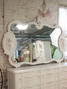Painted Cottage Chic Shabby White French Mirror by paintedcottages, $525.00