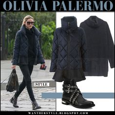 Olivia Palermo in navy blue quilted jacket, black jeans and boots