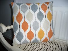 Retro Cushion Cover Orange Grey Stone Zest  throw Pillow Decorative Cushion, slip Cover scatter cushion. £15.00, via Etsy.
