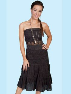 Scully Cowgirl Strapless Dress Black at Cowgirl Blondie's Dumb Blonde Boutique