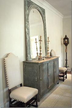 antique painted cabinet and mirror via cote de texas