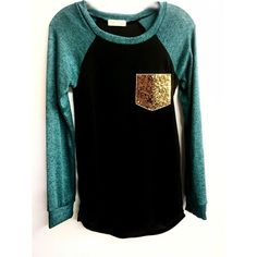 Women's Long Sleeve Color Block Top with Sequin Pocket (29 AUD) ❤ liked on Polyvore featuring tops, long sleeve sequin top, colorblock top, gold sequin top, sequin top and color block tops