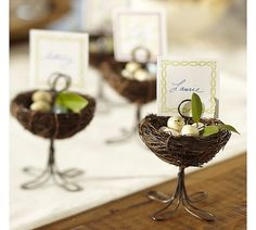 In love with these bird& nest placecard holders! Use for a tea, baby shower, wedding, etc. Happy Easter, Easter Bunny, Pottery Barn Table, Jordan Almonds, Bird Theme, Idee Diy, Easter Table, Deco Table, Wedding Favours