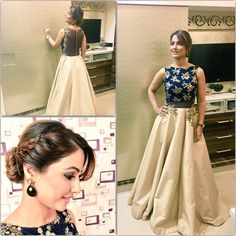 Adorable Hina khan in crop top & skirt Indian Skirt, Indian Dresses, Ethnic Outfits, Indian Outfits, Pakistani Outfits, Modern Outfits, Crop Top Designs, Dress Designs, Blouse Designs