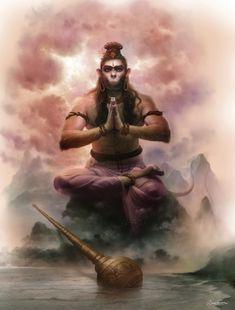 Hanuman by Ramesh Acharya Shiva Hindu, Shiva Art, Shiva Shakti, Hindu Deities, Hindu Art, Lord Hanuman Wallpapers, Hanuman Chalisa, Hanuman Tattoo, Hanuman Images